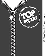 gray jacket with zip, top secret stamp. vector illustration