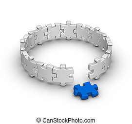 jigsaw puzzle - gray jigsaw puzzles with one red piece