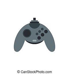 Gray joystick icon, flat style