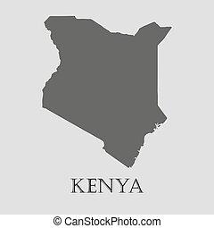 Gray Kenya map - vector illustration