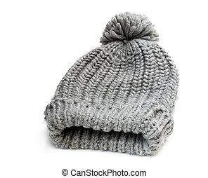 Gray knitted hat isolated on white