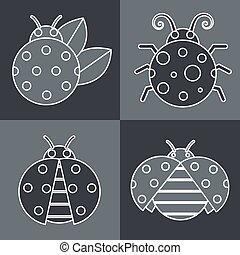 Gray ladybug with white stroke on  background