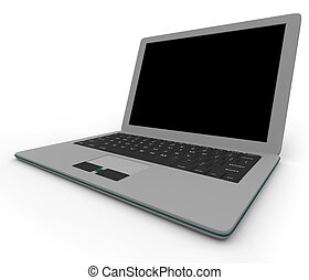 Gray Laptop Computer - Right Side