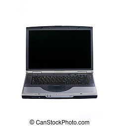 Gray laptop isolated on white.