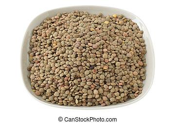 Gray lentil on a plate