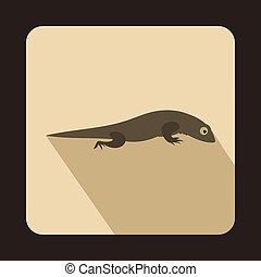Gray lizard icon, flat style