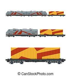 Gray Locomotive with Orange Cargo Container