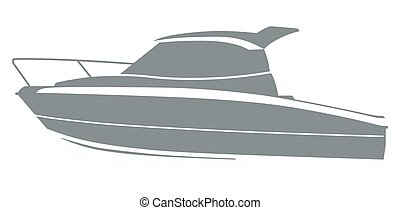 Gray logo boat - Logo yacht club in the form of a boat