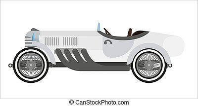 Gray long vintage car - Vector illustration of gray colored...