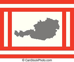 Gray map and flag of Austria in frame