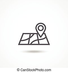Map icon - Gray Map icon with shadow on white