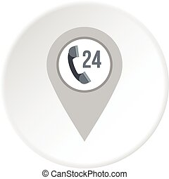 Gray map pointer with phone handset sign icon