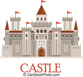 Gray medieval castle with turrets - Fortified medieval roman...