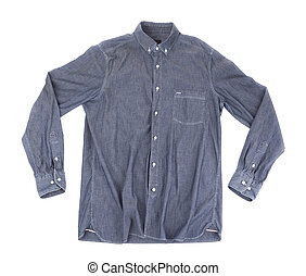 Gray Mens Shirt. On a white background.
