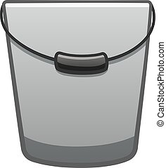 Gray metal bucket for cleaning with a black handle on white backgound