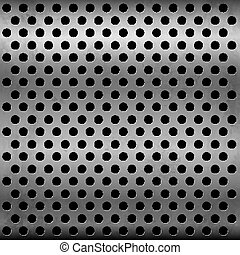 Gray metallic vector plate with perforation