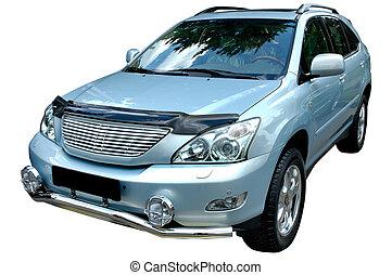 Gray modern car - Silver metallic modern car isolated