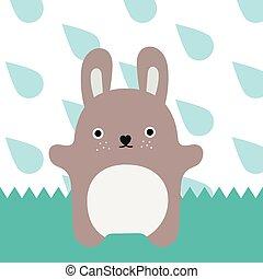 Gray monster. Little rabbit in rain time