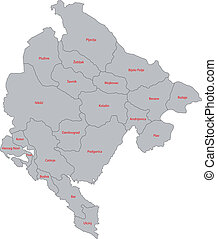 Gray Montenegro map - Administrative division of the