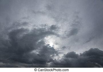 Gray moody sky - Background of moody grey sky with bleak sun