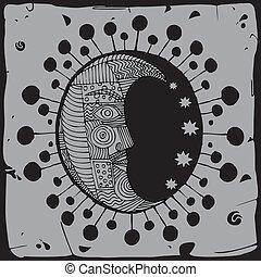 Gray Moon illustration in black Sun silhouette