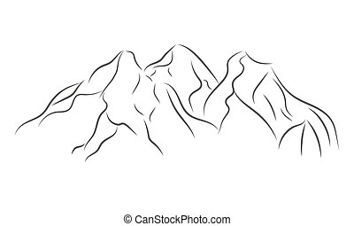 Gray mountain range icon. Vector illustration