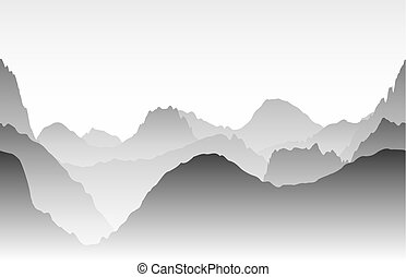 Gray mountains in the fog. Seamless vector
