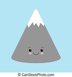 Gray mountains. Kawaii cartoon character with a cute face.
