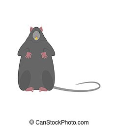 Gray mouse isolated. Little Rat vector illustration.?