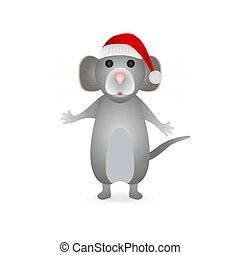 Gray mouse symbol of the new year 2020 in a Santa Claus hat on a white