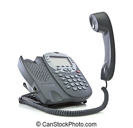 Gray office telephone isolated on a white background with floating handset
