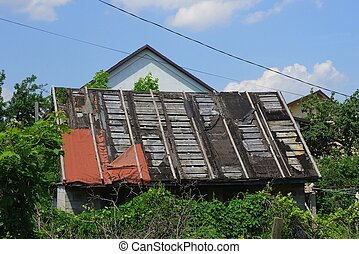old wooden ruined barn roof overgrown with green vegetation