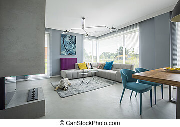 Gray open space interior - Trendy, gray, open space interior...