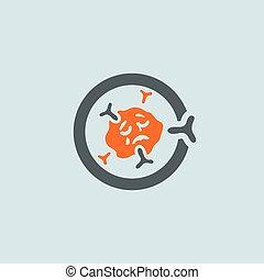 gray-orange, 免疫グロブリン, ラウンド, アイコン