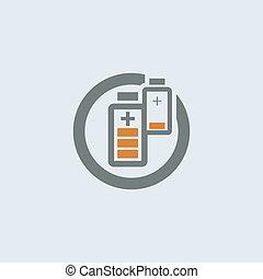 Gray-orange Battery Round Icon