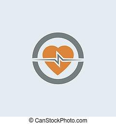 Gray-orange Heart Round Icon