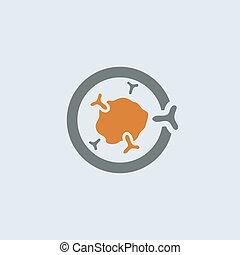 gray-orange, inmunoglobulina, redondo, icono
