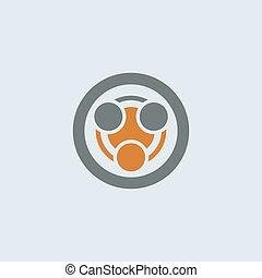 gray-orange, okrągły, zakażenie, ikona