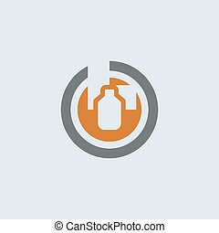 Gray-orange Packaging Round Icon