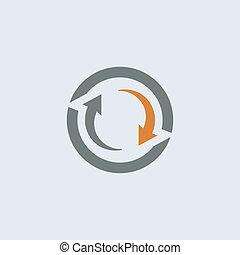gray-orange, redondo, ciclo, icono