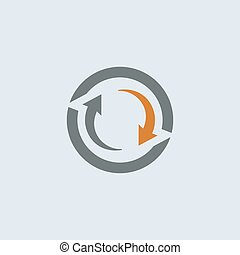 gray-orange, rond, cycle, icône