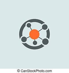 gray-orange, sieć, okrągły, ikona