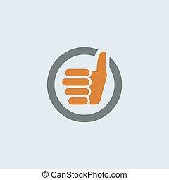 Gray-orange Thumbs Up Round Icon