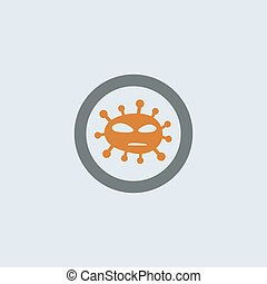 Gray-orange Virus Round Icon
