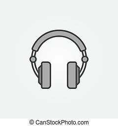 Gray Over-Ear Headphones simple vector icon or logo