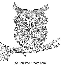 Gray Owl ornament black on a white background