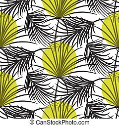 Gray palm leaves with green dots seamless vector pattern.