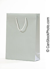 Gray paper bag isolated on white background.