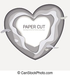 Gray paper-cut heart shape. Monochrome multi layers, carving of paper. Print template for cards with paper cut shapes, modern abstract design. 3D Illustration for background for your messages