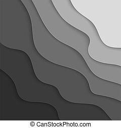 Gray Paper graphic elements.  Wavy paper cut background. Vector illustration